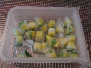 Fruits inside Ice Cubes