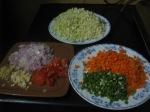 Chop the vegetables fine
